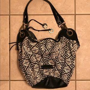 Lucky Brand Hobo Bag Black White Cotton